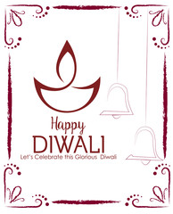 beautiful diwali banner with diya and decoration Indian lamp with grunge on the white background. Banner. Vector.