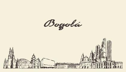 Fototapete - Bogota skyline Colombia vector city drawn sketch