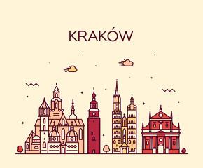 Fototapeta Krakow skyline, Poland. Trendy vector linear city obraz