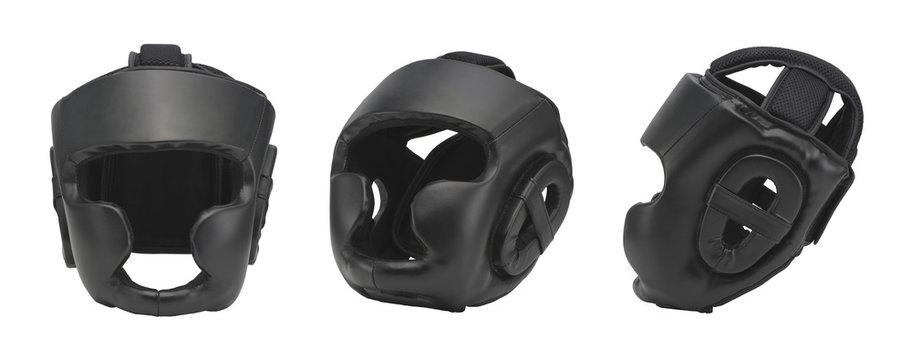 set black sports boxing helmet for training, on white background, isolated. sportswear