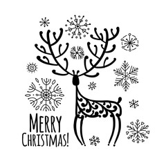 Christmas card with ornamental deer for your design