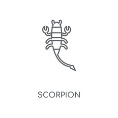 Scorpion linear icon. Scorpion concept stroke symbol design. Thin graphic elements vector illustration, outline pattern on a white background, eps 10.