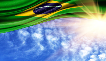 the flag of Brazil in the rays sun