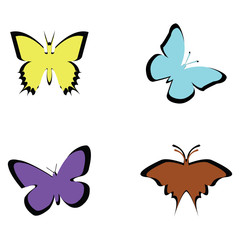 Vector illustration of colorful butterflies on white background