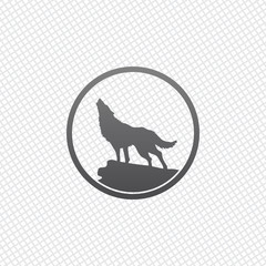 wolf. simple icon. On grid background