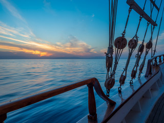 Sunset at the Sailboat deck while cruising