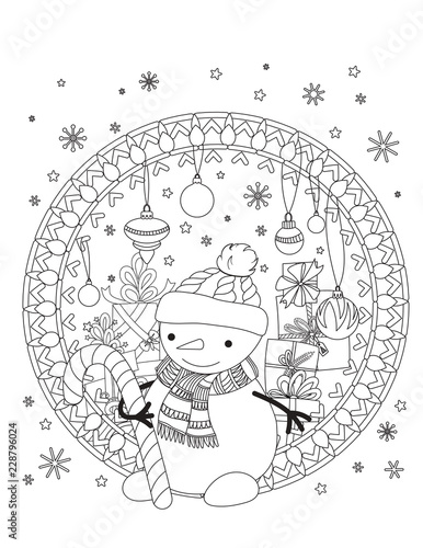 Christmas Coloring Page Adult Coloring Book Cute Snowman With