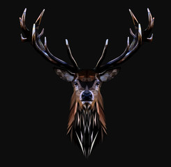 Low poly triangular deer head with horns on dark background, vector illustration EPS 10 isolated.  Polygonal style trendy modern logo design. Suitable for printing on a t-shirt.