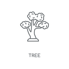 Tree linear icon. Tree concept stroke symbol design. Thin graphic elements vector illustration, outline pattern on a white background, eps 10.