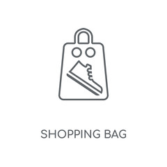 Shopping bag linear icon. Shopping bag concept stroke symbol design. Thin graphic elements vector illustration, outline pattern on a white background, eps 10.