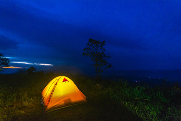 Camping in the mountains Thailand.