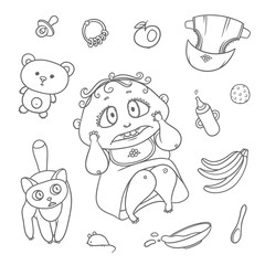 Vector set scared child and cat. Hygiene items, baby care and toys. Flat black color sketch contour illustration