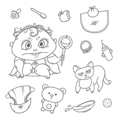 Vector set angry child and cat. Hygiene items, baby care and toys. Flat black color sketch contour illustration