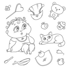 Surprised child and kitten. Hygiene items, baby care and toys. Chubby curly puzzled kid with big eyes and cat. Vector set flat black color sketch contour illustration