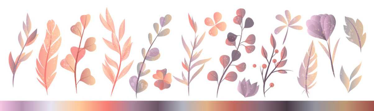 Set of hand drawn watercolor autumn herbs