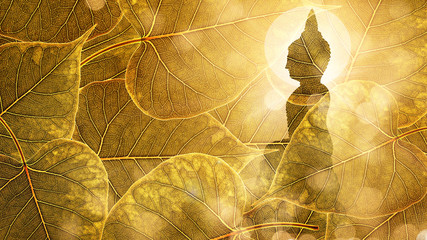 Buddha sit on Gold boleaf background double exposure or silhouette design