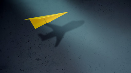 Think Big and Motivation in Business Concept. Paper AirPlanes Flying with Shadow of Aircraft over the Wall