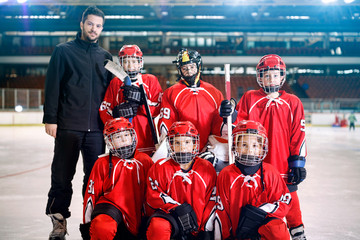 portrait of boys players team ice hockey .
