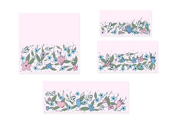 Flowers composition in doodle style. Vector ilustration.