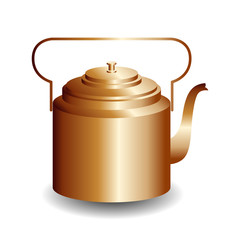 International Tea Day. Agricultural holiday concept. Copper retro teapot.
