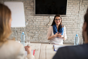 Nervous woman on interview for job