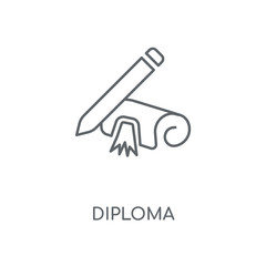 Diploma linear icon. Diploma concept stroke symbol design. Thin graphic elements vector illustration, outline pattern on a white background, eps 10.