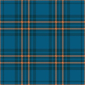Seamless plaid check pattern in teal blue and orange. Classic countryside fashion print.