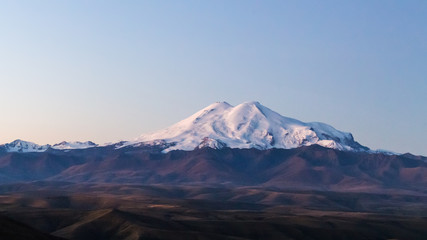 view of Mount Elbrus from Bermamyt Plateau at dawn