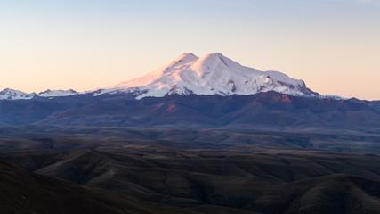 panoramic view of Mount Elbrus at sunrise