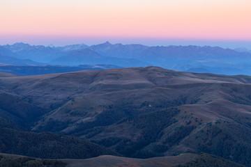 Caucasus from Bermamyt Plateau at blue dawn