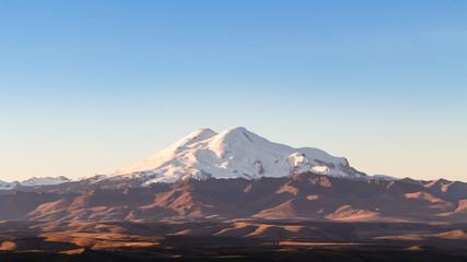 Mount Elbrus from Bermamyt Plateau at sunrise