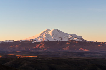 Mount Elbrus from Bermamyt during rising of sun