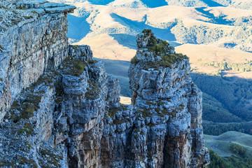 view of old rocks of Bermamyt Plateau at morning