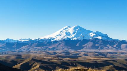 Mount Elbrus from Bermamyt at autumn morning