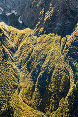 above view of river in overgrown mountain gorge