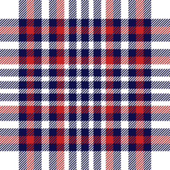 Seamless plaid check pattern in red, white and blue