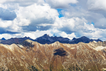 view of Caucasus mountains from Dombay sky station