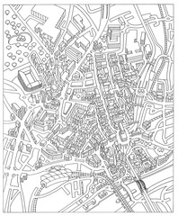 Newcastle England city street map drawing