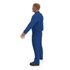 Mechanic Worker Wearing Blue Overalls Standing Pose. 3D Illustration