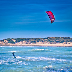 Man sailing with his kite