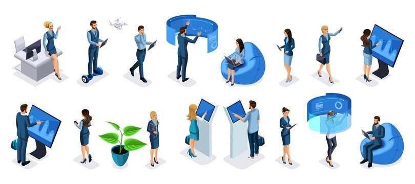 Isometric set of businessmen and business ladies with gadgets, high tech technology, smartphones, laptops, interactive screen, virtual reality, tablet, for vector