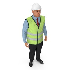 Port Engineer In High Visisbility Jacket Standing Pose Isolated On White Background. 3D Illustration
