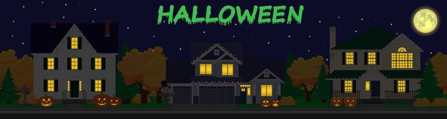 vector street. family houses set. Holiday decorations. Happy halloween day.