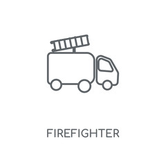 Firefighter linear icon. Firefighter concept stroke symbol design. Thin graphic elements vector illustration, outline pattern on a white background, eps 10.