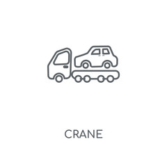 Crane linear icon. Crane concept stroke symbol design. Thin graphic elements vector illustration, outline pattern on a white background, eps 10.