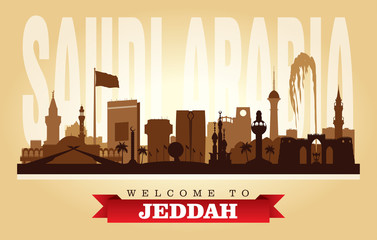 Wall Mural - Jeddah Saudi Arabia city skyline vector silhouette