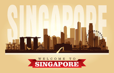 Singapore city skyline vector silhouette