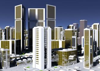 Futuristic Capital City 3d-Illustration