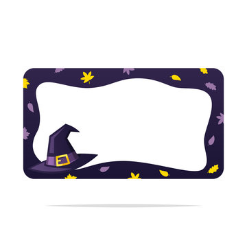 Witch hat halloween frame vector isolated