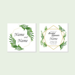 Wedding floral watercolor style double invite, invitation, save the date card design with forest greenery herbs, leaves, branches. Vector natural, botanical, elegant template EPS 10 Vector.